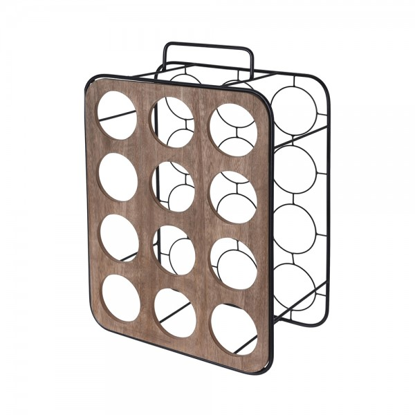 Eh Wine Rack Metal With Wood 12 Bottles 529987-V001 by EH Excellent Houseware