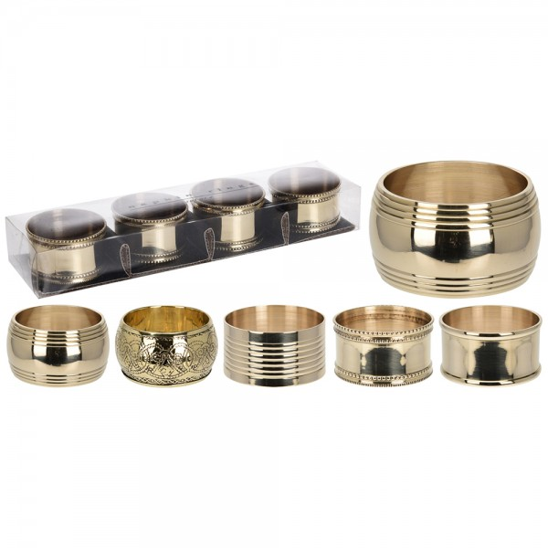 Eh  Napkin Ring Set Gold Mixed Design - 4Pc 530345-V001 by EH Excellent Houseware