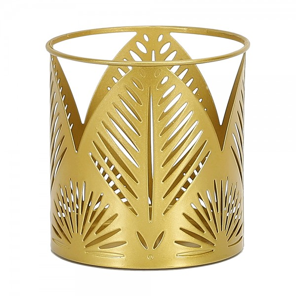 Hd Factory Gold Carved Metal Candle Holder - 1Pc 532519-V001 by Home Deco Factory