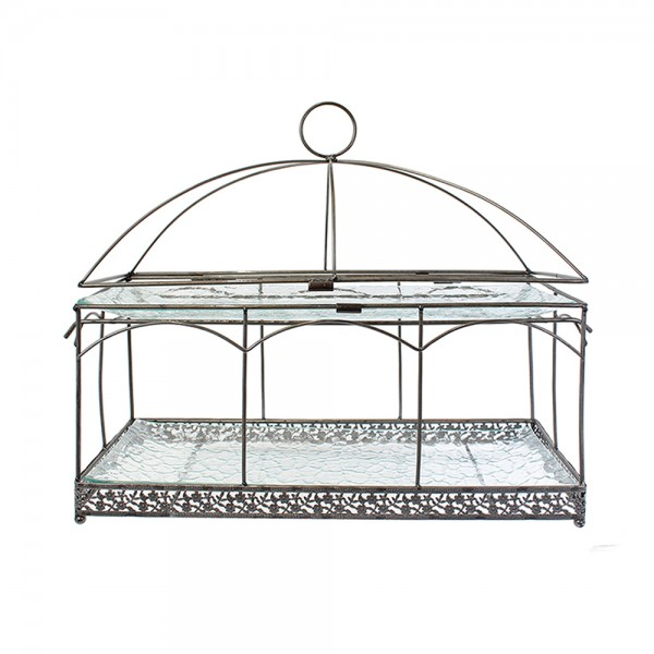 Hd Factory Display With Metal Frame And 2 Glass Shelves - 1Pc 532527-V001 by Home Deco Factory