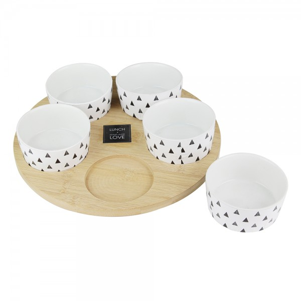 Hd Factory Wooden Serving Tray With 5 Small Bowls - 6Pc 532529-V001 by Home Deco Factory