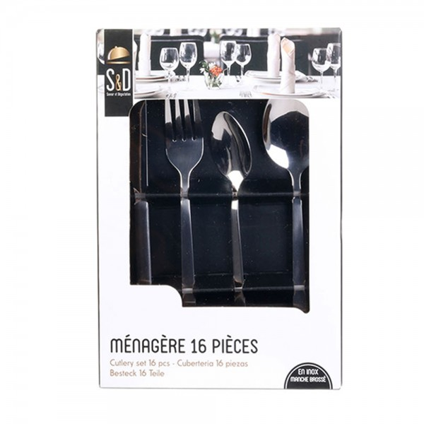 Hd Factory Cutlery Set Stainless Steel Silver Handle - 16Pc 532544-V001 by Home Deco Factory