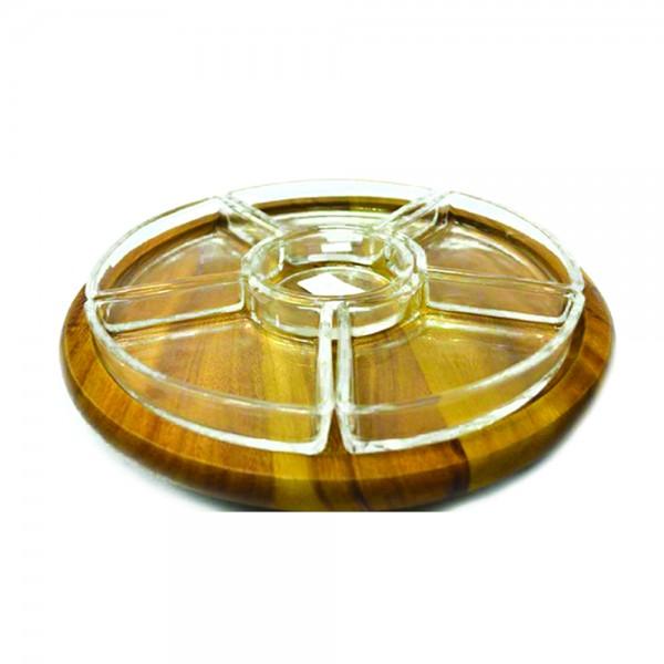 Billi Appetizer Wooden Tray W.4 Glass Sections 533374-V001 by Billi