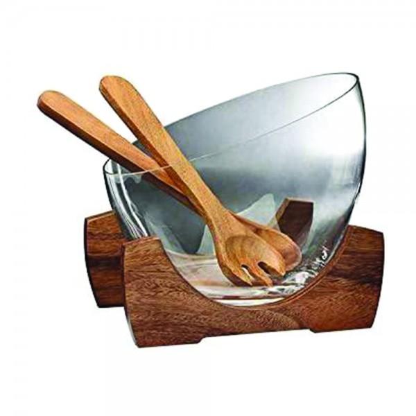 Billi Wooden And Glass Salad Bowl Set 25.7Cm 533395-V001 by Billi