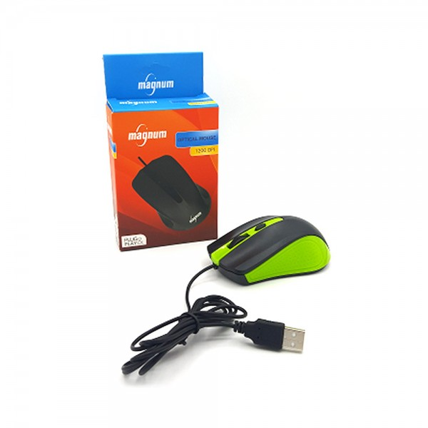 WIRED OPTICAL MOUSE 1200DPI PLUG+PLAY GREEN 534887-V001 by Magnum Led