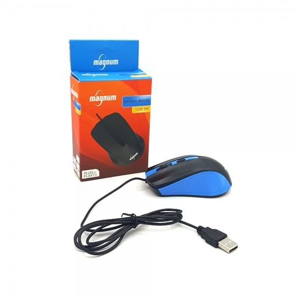 WIRED OPTICAL MOUSE 1200DPI PLUG+PLAY BLUE 534888-V001 by Magnum Led