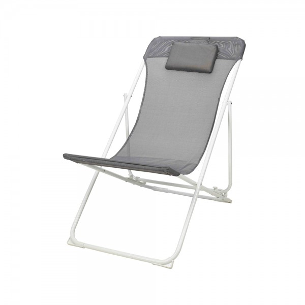 Eh Folding Chair Steel Frame Grey+Pillow 536977-V001 by EH Excellent Houseware