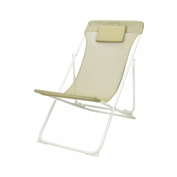Eh Folding Chair Steel Frame Cream+Pillow 536978-V001 by EH Excellent Houseware