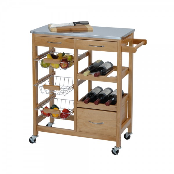 KITCHEN TROLLEY WOOD 66X84CM 537587-V001 by EH Excellent Houseware