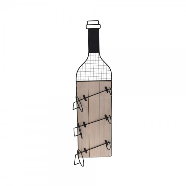 WINE RACK METAL WITH WOOD 537608-V001 by EH Excellent Houseware
