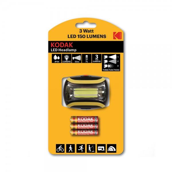 LED HEADLAMP 150 LUMENS +3 BATTERIES 538287-V001 by Kodak
