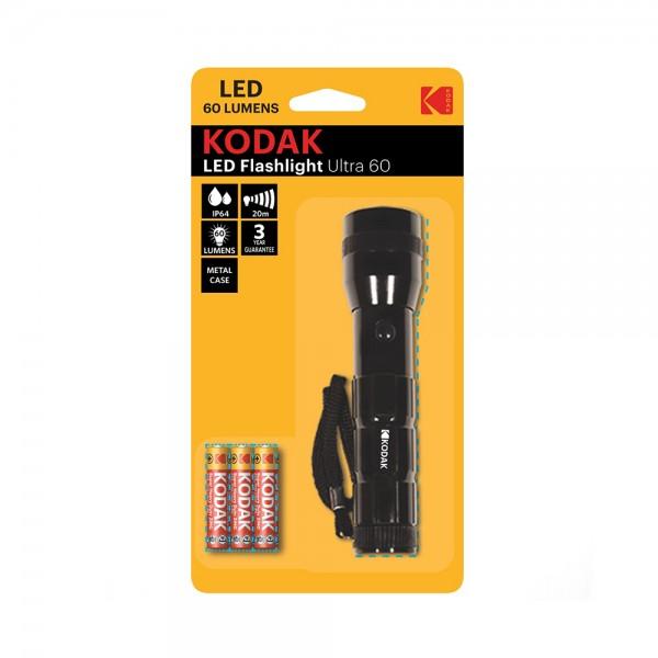LED FLASHLIGHT 60 LUMENS + 3 BATTERIES 538290-V001 by Kodak