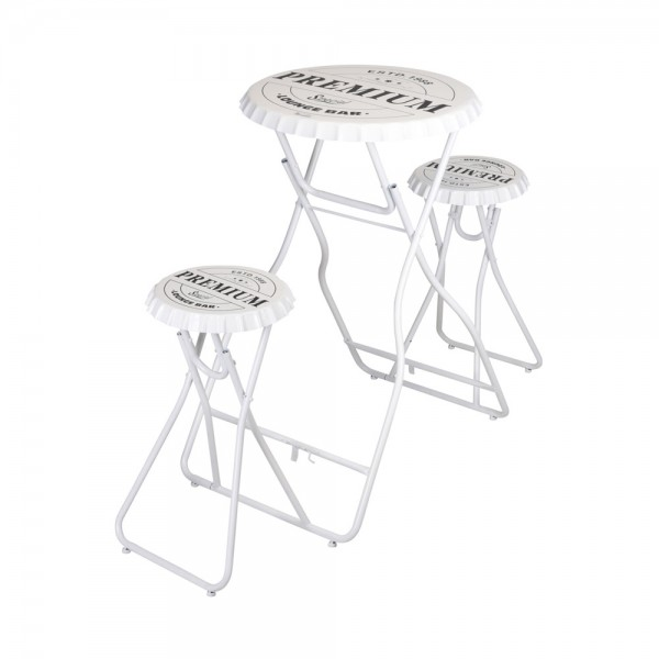 BAR TABLE WITH STOOL SET WHITE 540546-V001 by EH Excellent Houseware