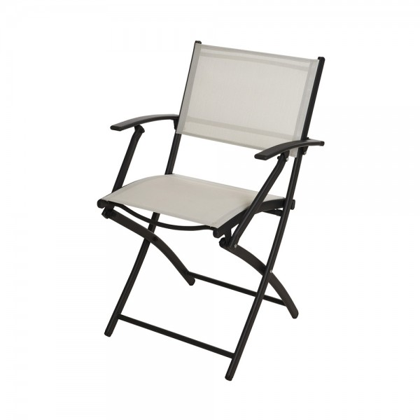 FOLDING ARMCHAIR WHITE WOVEN POLY 540594-V001 by EH Excellent Houseware