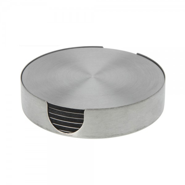 COASTER SET WITH HOLDER STAINLESS STEEL 540714-V001 by EH Excellent Houseware
