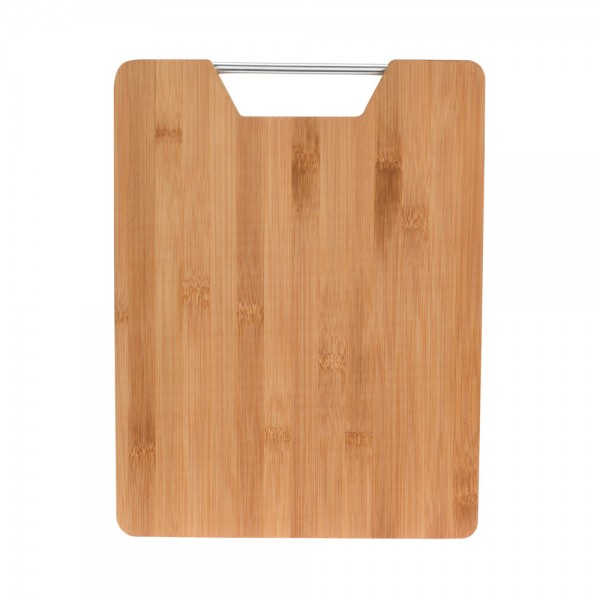 BAMBOO CUTTING BOARD WITH METAL HANDLE 540725-V001 by EH Excellent Houseware