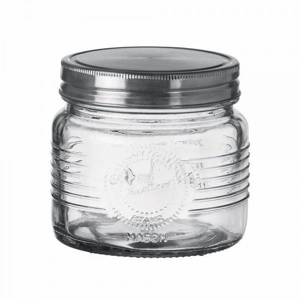 GRADUATED GLASS JAR+METAL LID 10X10CM 541042-V001 by Adtrend.it