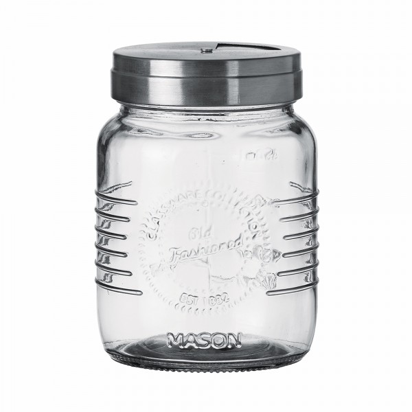 GRADUATED GLASS JAR WITH METAL LID 9X12CM 541044-V001 by Adtrend.it