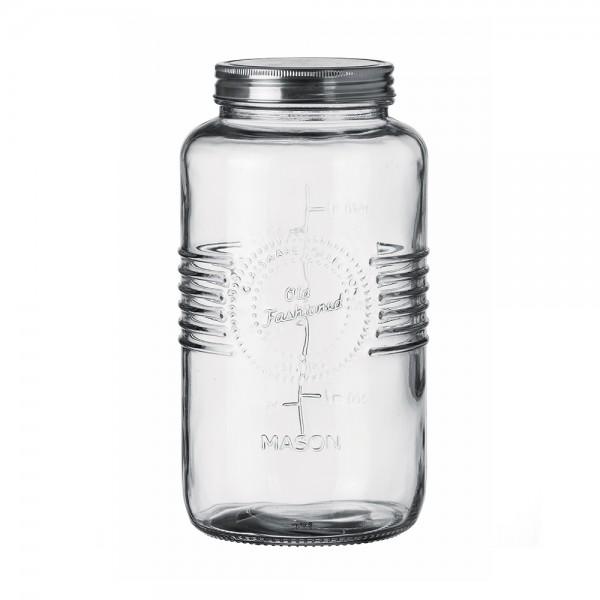 GRADUATED GLASS JAR WITH METAL LID 12X23.5CM 541046-V001 by Adtrend.it