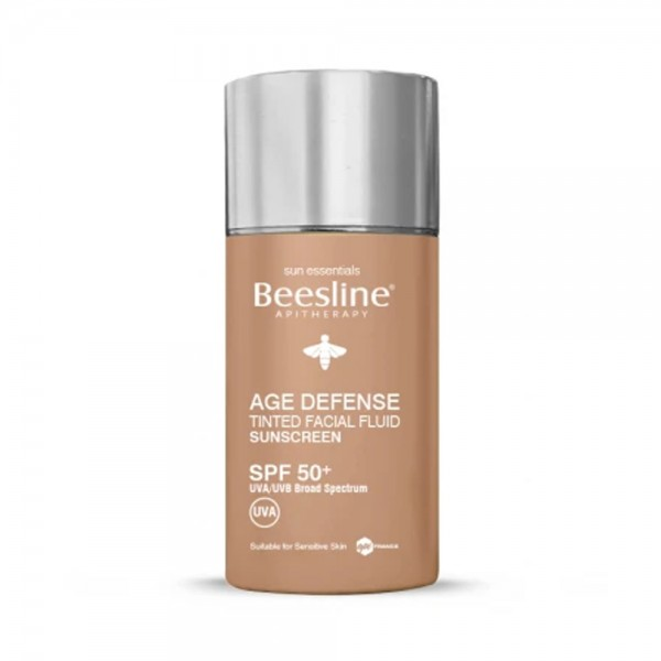 AGE DEFENSE TINTED FACIAL FLUID SUNSCREEN SPF 50 541185-V001 by Beesline