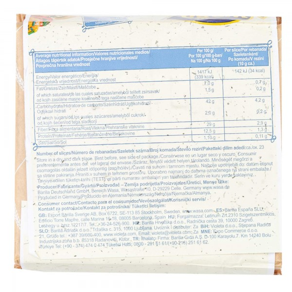 Wasa Fibre Tartines Croustillantes 275G