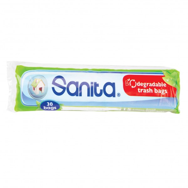 Sanita Biodegradable Trash Bags 30 Pieces Small