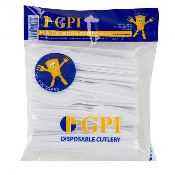 Gpi Plastic Knives White - 100S