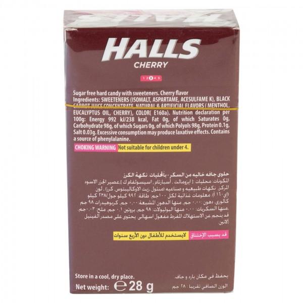Halls Sugar Free Cherry Flavor Cough Drops 15 Pieces