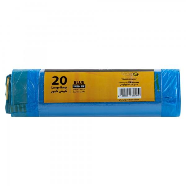 Spinneys Large Tie-Handle Blue Garbage Bags 20 Sacks