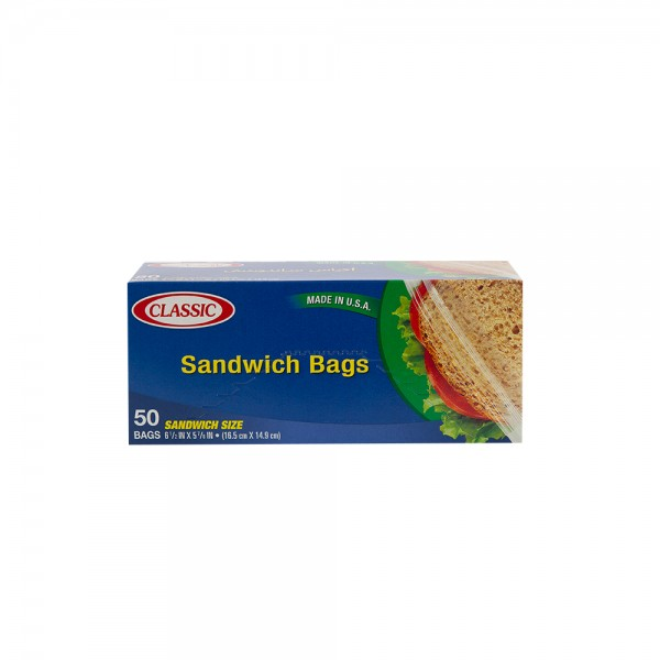 Classic Sandwich Bags Snap And Seal 50 Pieces
