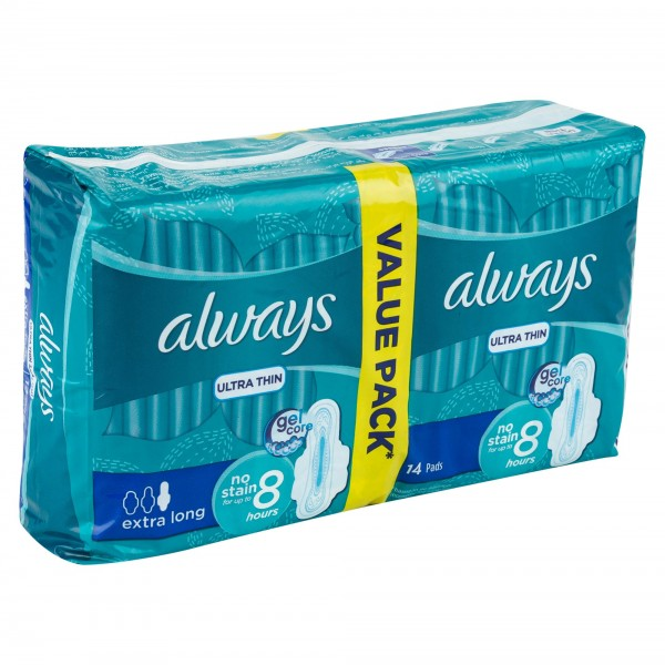 Always Ultra Thin Extra Long Pads With Wings Value Pack 14's
