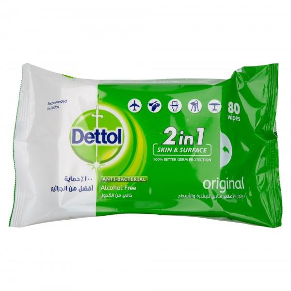 Dettol Anti-Bacterial Multi-Use Wipes Original 80 Wipes