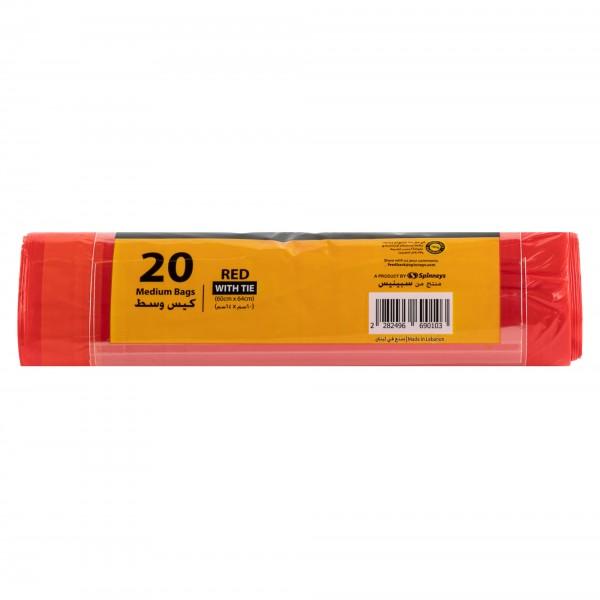 Spinneys Medium Tie-Handle Red Trash Bags 20 sacks