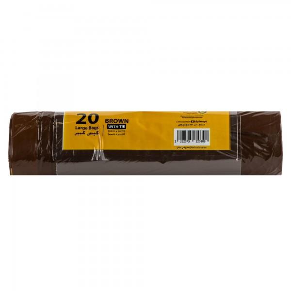 Spinneys Large Tie-Handle Brown Trash Bags 20 Sacks