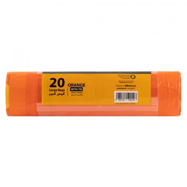 Spinneys Large Tie-Handle Orange Trash Bag 20 Sacks