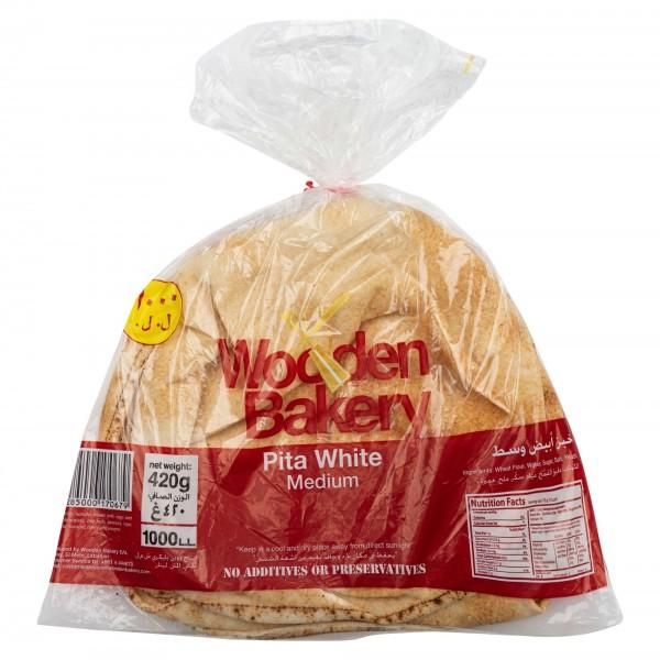 Wooden Bakery Pita White Medium 6 Loaves 420G
