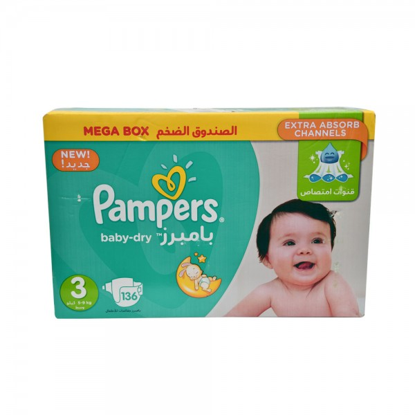 Pampers Mega Box Baby-Dry Size 3 5-9Kg 136 Count
