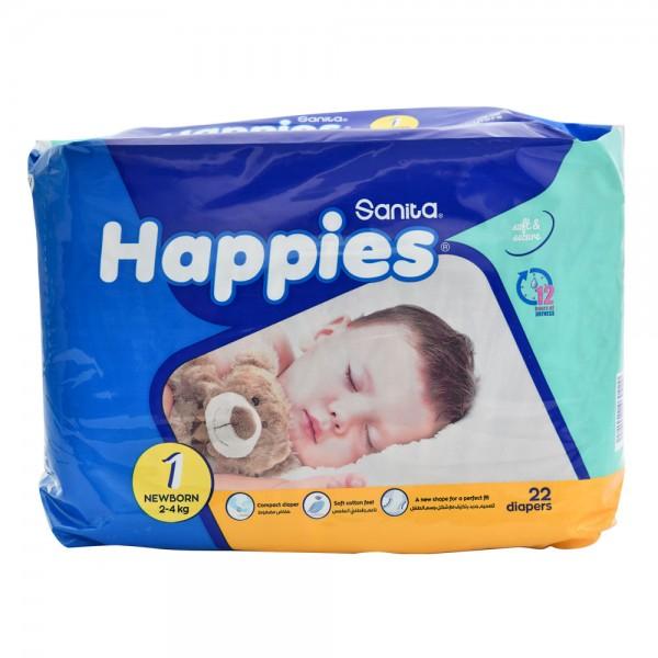 Sanita Happies Regular Pack New Born Size 1 2-4Kg 22 Count