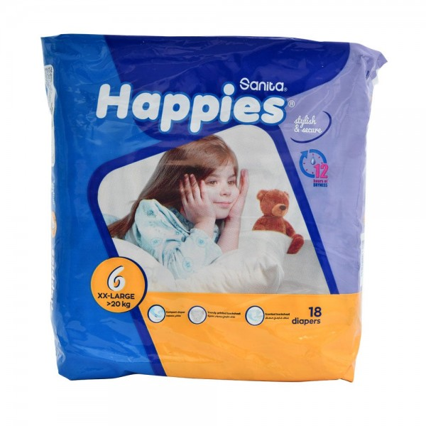 Sanita Happies Regular Pack XX-Large Size 6 >20Kg 18 Count