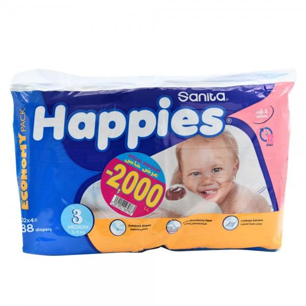 Sanita Happies Economy Pack Medium 88 Count