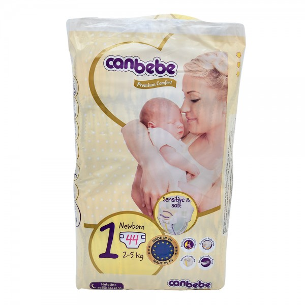 Canbebe Premium Comfort Baby Diapers Size 1 Newborn 2-5Kg 44 Count
