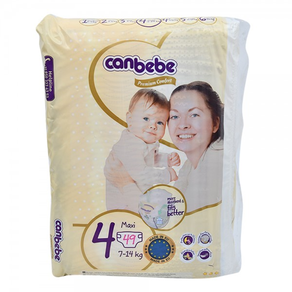 Canbebe Premium Comfort Baby Diapers Size 4 7-14Kg 49 Count