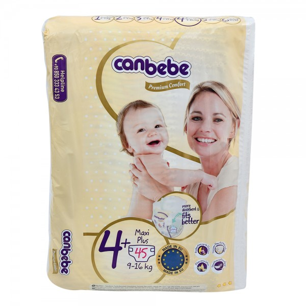 Canbebe Premium Comfort Baby Diapers Size 4+ 9-16Kg 45 Count