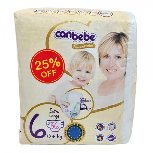 Canbebe Premium Comfort Baby Diapers Size 6 X-Large 15+ Kg 36 Count