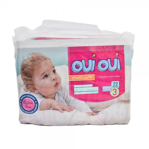 OUI OUI Premium Small 5-9Kg Size 3 22 Diapers