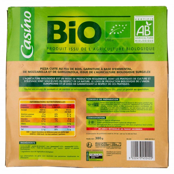 Casino Bio Pizza 3 Fromages 380G