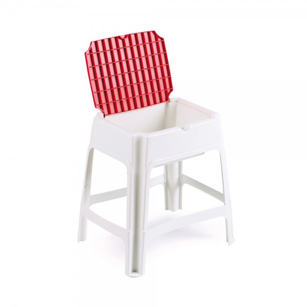 MULTIVER STOOL WITH STORAGE WHITE/RED