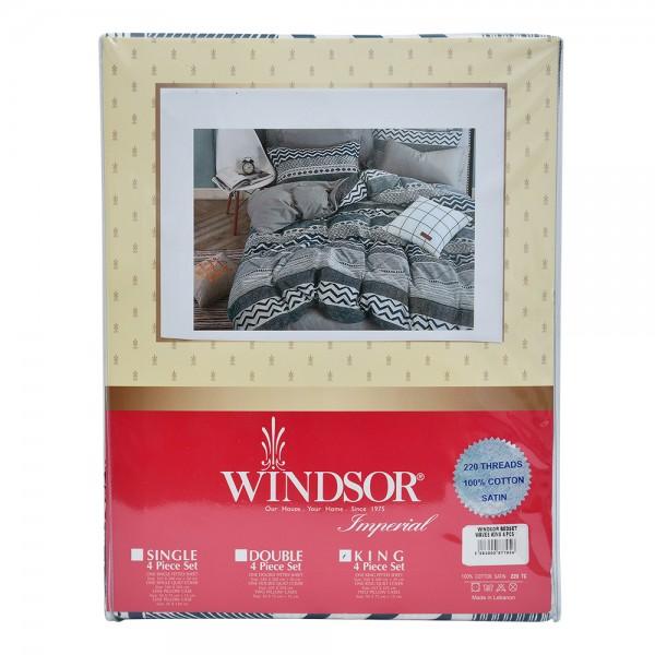 Windsor Bedset Satin Waves King - 4Pc