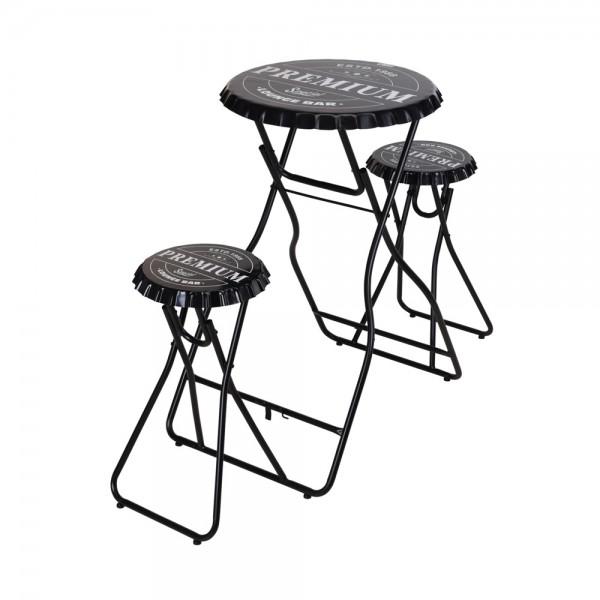 BAR TABLE WITH STOOL SET BLACK