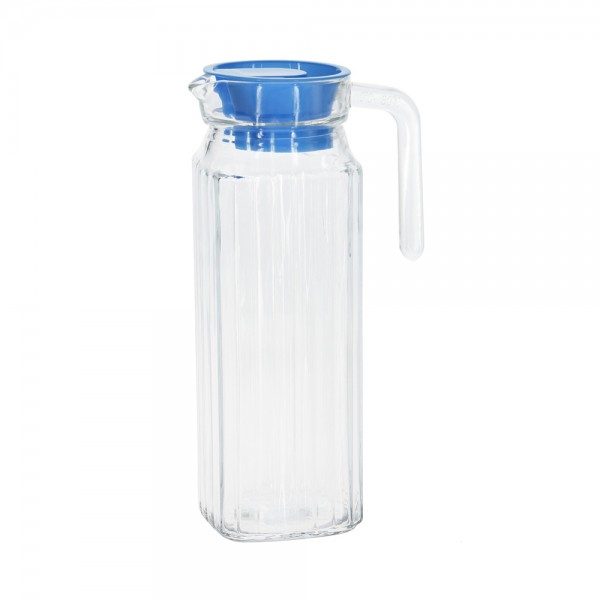 GLASS PITCHER WITH LID MIXED COLOR